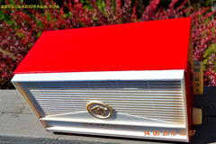 BLUETOOTH MP3 READY - Red and White Mid Century Retro Jetsons 1957 Truetone Model DC2854 Tube AM Radio Works! , Vintage Radio - Truetone, Retro Radio Farm  - 7