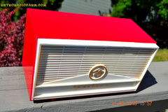 BLUETOOTH MP3 READY - Red and White Mid Century Retro Jetsons 1957 Truetone Model DC2854 Tube AM Radio Works! , Vintage Radio - Truetone, Retro Radio Farm  - 6