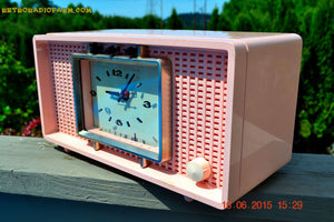 SOLD! - Sept 9, 2015 - BLUETOOTH MP3 READY - BIG PINK Mid Century Retro Jetsons 1956 Sylvania Model R598-7509 Tube AM Clock Radio Totally Restored! , Vintage Radio - Sylvania, Retro Radio Farm  - 2