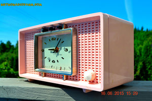 SOLD! - Sept 9, 2015 - BLUETOOTH MP3 READY - BIG PINK Mid Century Retro Jetsons 1956 Sylvania Model R598-7509 Tube AM Clock Radio Totally Restored! , Vintage Radio - Sylvania, Retro Radio Farm  - 4