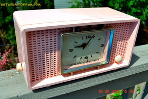 SOLD! - Sept 9, 2015 - BLUETOOTH MP3 READY - BIG PINK Mid Century Retro Jetsons 1956 Sylvania Model R598-7509 Tube AM Clock Radio Totally Restored! , Vintage Radio - Sylvania, Retro Radio Farm  - 5