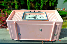 Load image into Gallery viewer, SOLD! - Sept 9, 2015 - BLUETOOTH MP3 READY - BIG PINK Mid Century Retro Jetsons 1956 Sylvania Model R598-7509 Tube AM Clock Radio Totally Restored! - [product_type} - Sylvania - Retro Radio Farm