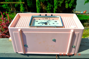 SOLD! - Sept 9, 2015 - BLUETOOTH MP3 READY - BIG PINK Mid Century Retro Jetsons 1956 Sylvania Model R598-7509 Tube AM Clock Radio Totally Restored! , Vintage Radio - Sylvania, Retro Radio Farm  - 7