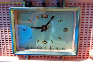 SOLD! - Sept 9, 2015 - BLUETOOTH MP3 READY - BIG PINK Mid Century Retro Jetsons 1956 Sylvania Model R598-7509 Tube AM Clock Radio Totally Restored! , Vintage Radio - Sylvania, Retro Radio Farm  - 6