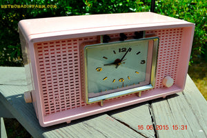 SOLD! - Sept 9, 2015 - BLUETOOTH MP3 READY - BIG PINK Mid Century Retro Jetsons 1956 Sylvania Model R598-7509 Tube AM Clock Radio Totally Restored! , Vintage Radio - Sylvania, Retro Radio Farm  - 3