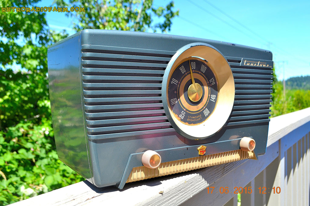 SOLD! - Aug 4, 2015 - GUNMETAL GREEN Mid Century Retro Jetsons 1954 Truetone Model D2637 Tube AM Radio Works! , Vintage Radio - Truetone, Retro Radio Farm  - 1