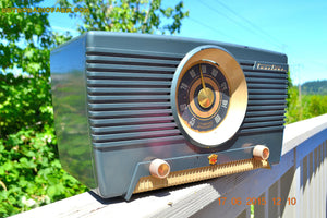 SOLD! - Aug 4, 2015 - GUNMETAL GREEN Mid Century Retro Jetsons 1954 Truetone Model D2637 Tube AM Radio Works! - [product_type} - Truetone - Retro Radio Farm