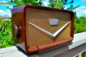 SOLD! - Aug 9, 2015 - ROCKABILLY Looking Retro Vintage Cadillac Brown Marbled Gold 1950's Truetone Western Auto D2586 AM Tube Radio WORKS! - [product_type} - Truetone - Retro Radio Farm