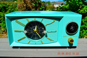 SOLD! - Nov 24, 2015 - BLUETOOTH MP3 READY - Aquamarine Retro Jetsons 1959 Westinghouse Model H671T5 Tube AM Clock Radio Totally Restored! , Vintage Radio - Westinghouse, Retro Radio Farm  - 1