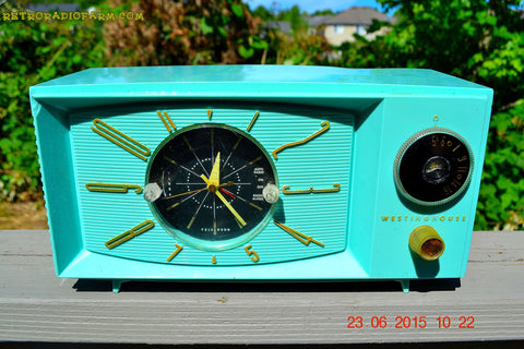 SOLD! - Nov 24, 2015 - BLUETOOTH MP3 READY - Aquamarine Retro Jetsons 1959 Westinghouse Model H671T5 Tube AM Clock Radio Totally Restored!