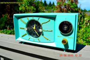 SOLD! - Nov 24, 2015 - BLUETOOTH MP3 READY - Aquamarine Retro Jetsons 1959 Westinghouse Model H671T5 Tube AM Clock Radio Totally Restored! - [product_type} - Westinghouse - Retro Radio Farm