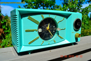 SOLD! - Nov 24, 2015 - BLUETOOTH MP3 READY - Aquamarine Retro Jetsons 1959 Westinghouse Model H671T5 Tube AM Clock Radio Totally Restored! , Vintage Radio - Westinghouse, Retro Radio Farm  - 2