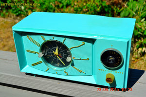 SOLD! - Nov 24, 2015 - BLUETOOTH MP3 READY - Aquamarine Retro Jetsons 1959 Westinghouse Model H671T5 Tube AM Clock Radio Totally Restored! , Vintage Radio - Westinghouse, Retro Radio Farm  - 7