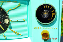 Load image into Gallery viewer, SOLD! - Nov 24, 2015 - BLUETOOTH MP3 READY - Aquamarine Retro Jetsons 1959 Westinghouse Model H671T5 Tube AM Clock Radio Totally Restored! , Vintage Radio - Westinghouse, Retro Radio Farm  - 9