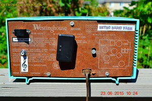 SOLD! - Nov 24, 2015 - BLUETOOTH MP3 READY - Aquamarine Retro Jetsons 1959 Westinghouse Model H671T5 Tube AM Clock Radio Totally Restored! , Vintage Radio - Westinghouse, Retro Radio Farm  - 11
