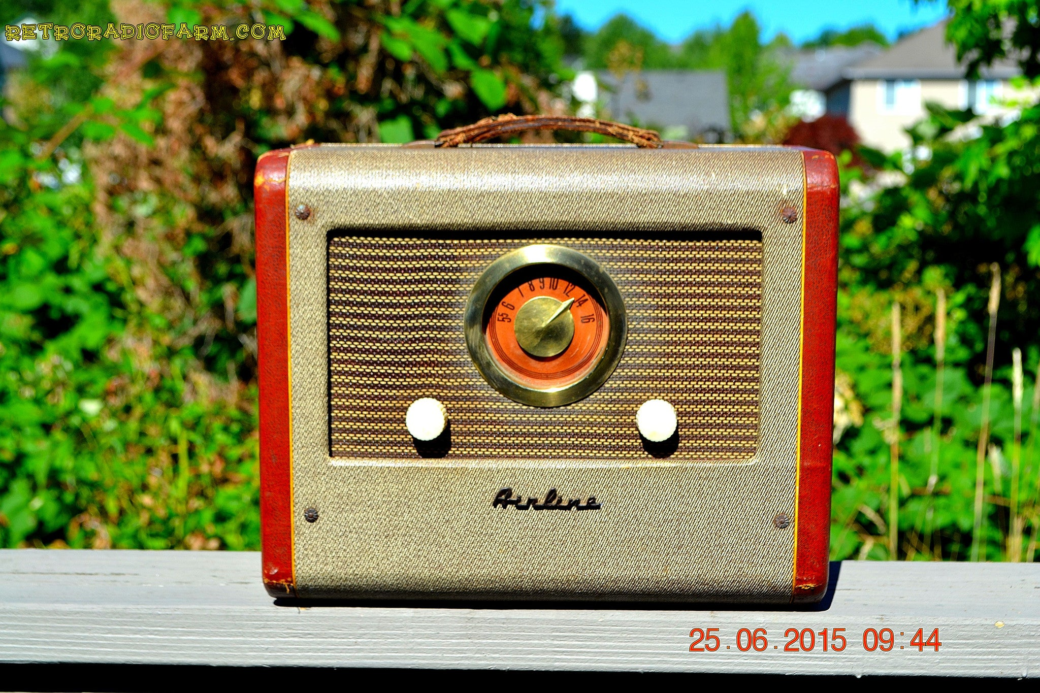 SOLD! - Aug 14, 2015 - BLUETOOTH MP3 READY - Cool Jazz Portable Retro 1951 Airline Model 25-GHM Tube AM Radio Works! - [product_type} - Airline - Retro Radio Farm