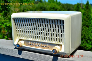 SOLD! - Sept 6, 2015 - BLUETOOTH MP3 READY - Post War Industrial Ivory Retro Deco 1951 Wards Airline Model 15BR-1544A Tube Radio Totally Restored! , Vintage Radio - Airline, Retro Radio Farm  - 7