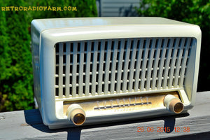 SOLD! - Sept 6, 2015 - BLUETOOTH MP3 READY - Post War Industrial Ivory Retro Deco 1951 Wards Airline Model 15BR-1544A Tube Radio Totally Restored! - [product_type} - Airline - Retro Radio Farm