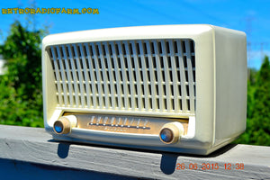 SOLD! - Sept 6, 2015 - BLUETOOTH MP3 READY - Post War Industrial Ivory Retro Deco 1951 Wards Airline Model 15BR-1544A Tube Radio Totally Restored! , Vintage Radio - Airline, Retro Radio Farm  - 2