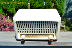 SOLD! - Sept 6, 2015 - BLUETOOTH MP3 READY - Post War Industrial Ivory Retro Deco 1951 Wards Airline Model 15BR-1544A Tube Radio Totally Restored! , Vintage Radio - Airline, Retro Radio Farm  - 3