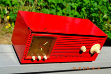 Load image into Gallery viewer, SOLD! - Dec 4, 2015 - BLUETOOTH MP3 READY - RED Red Red Retro Jetsons 1956 Admiral Model 5B4 Tube AM Clock Radio Totally Restored! - [product_type} - Admiral - Retro Radio Farm