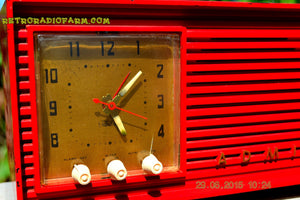 SOLD! - Dec 4, 2015 - BLUETOOTH MP3 READY - RED Red Red Retro Jetsons 1956 Admiral Model 5B4 Tube AM Clock Radio Totally Restored! - [product_type} - Admiral - Retro Radio Farm