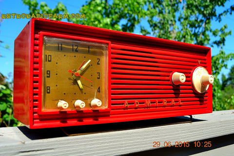 SOLD! - Dec 4, 2015 - BLUETOOTH MP3 READY - RED Red Red Retro Jetsons 1956 Admiral Model 5B4 Tube AM Clock Radio Totally Restored!
