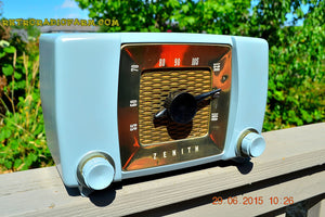 SOLD! - July 23, 2015 - BLUETOOTH MP3 READY -  Slate Grey Retro Mid Century Deco Vintage 1951 Zenith H615 AM Tube Radio Sounds Great! - [product_type} - Zenith - Retro Radio Farm