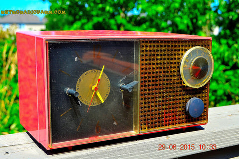 SOLD! - Feb 21, 2016 - RUBY RED GRAPEFRUIT Pink Retro Jetsons 1956 Philco E742-124 Tube AM Clock Radio Works!