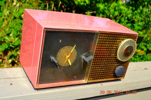 SOLD! - Feb 21, 2016 - RUBY RED GRAPEFRUIT Pink Retro Jetsons 1956 Philco E742-124 Tube AM Clock Radio Works! - [product_type} - Philco - Retro Radio Farm