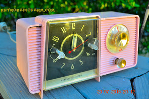 SOLD! - July 21, 2015 POWDER PINK Mid Century Jetsons 1959 General Electric Model C-406A Tube AM Clock Radio Totally Restored! - [product_type} - General Electric - Retro Radio Farm