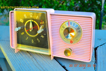 Load image into Gallery viewer, SOLD! - July 21, 2015 POWDER PINK Mid Century Jetsons 1959 General Electric Model C-406A Tube AM Clock Radio Totally Restored! - [product_type} - General Electric - Retro Radio Farm