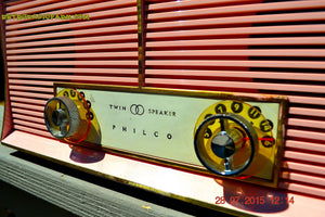 SOLD! - Dec 26, 2015 - FLAMINGO PINK Twin Speaker Retro Vintage 1959 Philco Model JB46-124 AM Tube Radio Totally Restored! - [product_type} - Philco - Retro Radio Farm