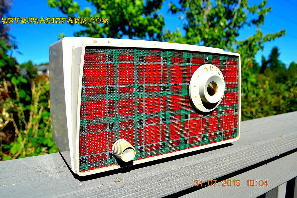 SOLD! - Sept 9, 2015 - MAD FOR PLAID! Mid Century Retro Vintage 1956 Westinghouse H503T5A Tube AM Radio WORKS! , Vintage Radio - Westinghouse, Retro Radio Farm  - 1