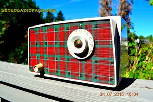 SOLD! - Sept 9, 2015 - MAD FOR PLAID! Mid Century Retro Vintage 1956 Westinghouse H503T5A Tube AM Radio WORKS! , Vintage Radio - Westinghouse, Retro Radio Farm  - 3
