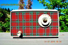 SOLD! - Sept 9, 2015 - MAD FOR PLAID! Mid Century Retro Vintage 1956 Westinghouse H503T5A Tube AM Radio WORKS! , Vintage Radio - Westinghouse, Retro Radio Farm  - 2