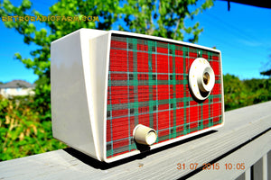 SOLD! - Sept 9, 2015 - MAD FOR PLAID! Mid Century Retro Vintage 1956 Westinghouse H503T5A Tube AM Radio WORKS! , Vintage Radio - Westinghouse, Retro Radio Farm  - 4