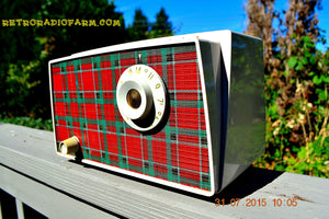 SOLD! - Sept 9, 2015 - MAD FOR PLAID! Mid Century Retro Vintage 1956 Westinghouse H503T5A Tube AM Radio WORKS! , Vintage Radio - Westinghouse, Retro Radio Farm  - 5