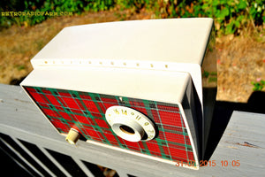 SOLD! - Sept 9, 2015 - MAD FOR PLAID! Mid Century Retro Vintage 1956 Westinghouse H503T5A Tube AM Radio WORKS! - [product_type} - Westinghouse - Retro Radio Farm