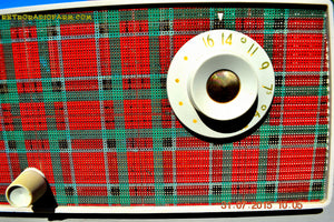 SOLD! - Sept 9, 2015 - MAD FOR PLAID! Mid Century Retro Vintage 1956 Westinghouse H503T5A Tube AM Radio WORKS! , Vintage Radio - Westinghouse, Retro Radio Farm  - 8