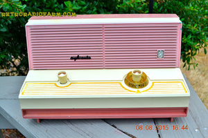SOLD! - Dec 5, 2015 - BLUETOOTH MP3 READY - DUSTY ROSE METALLIC Mid Century Retro Jetsons Vintage 1960 Sylvania Model 5T18 AM Tube Radio ULTRA RARE! - [product_type} - Sylvania - Retro Radio Farm