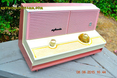 SOLD! - Dec 5, 2015 - BLUETOOTH MP3 READY - DUSTY ROSE METALLIC Mid Century Retro Jetsons Vintage 1960 Sylvania Model 5T18 AM Tube Radio ULTRA RARE! , Vintage Radio - Sylvania, Retro Radio Farm  - 4
