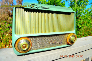 SOLD! - Mar 23, 2016 - PISTACHIO GREEN Mid Century Retro Jetsons 1955 Motorola Model A4G Custom 6 Tube AM Radio Rare! - [product_type} - Motorola - Retro Radio Farm