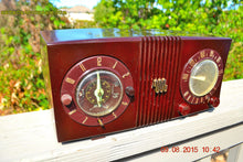 Load image into Gallery viewer, SOLD! - Sept 17, 2015 - STUDIOUS LOOKING Brown Swirly Mid Century Retro 1950 Motorola Model 5C6 Tube AM Clock Radio Works Great!! , Vintage Radio - Motorola, Retro Radio Farm  - 8