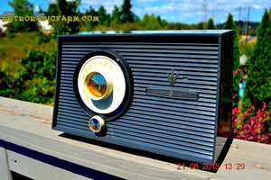 SOLD! - Jan 4, 2016 - CHARCOAL GREY Mid Century Retro Vintage 1960 General Electric Model T-101A AM Tube Radio Totally Restored! - [product_type} - General Electric - Retro Radio Farm