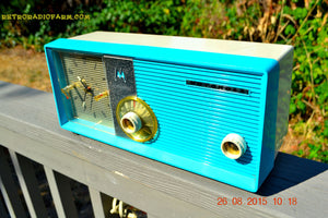 SOLD! - July 10, 2015 - BLUETOOTH MP3 READY - ELECTRIC BLUE Retro Jetsons 1957 Motorola 5C24CW Tube AM Clock Radio Works! - [product_type} - Motorola - Retro Radio Farm