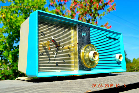 SOLD! - Sept 2, 2015 - BLUETOOTH MP3 READY - ELECTRIC BLUE Retro Jetsons 1957 Motorola 5C24CW Tube AM Clock Radio Works!