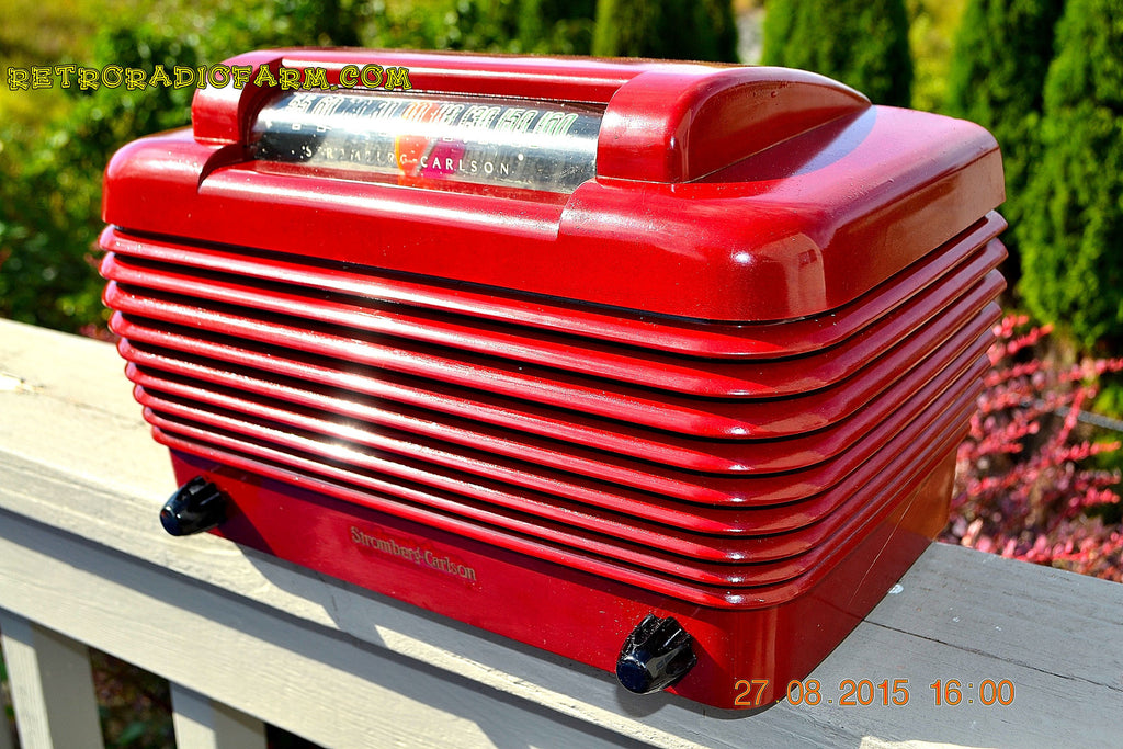 SOLD! - Feb 11, 2016 - BORDEAUX RED Art Deco Vintage Retro Industrial Age 1949 Stromberg Carlson Model 1500-H Bakelite Tube Radio Totally Restored! , Vintage Radio - Stromberg Carlson, Retro Radio Farm  - 1