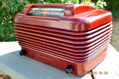 SOLD! - Feb 11, 2016 - BORDEAUX RED Art Deco Vintage Retro Industrial Age 1949 Stromberg Carlson Model 1500-H Bakelite Tube Radio Totally Restored! , Vintage Radio - Stromberg Carlson, Retro Radio Farm  - 3