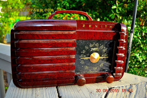 SOLD! - Sept 22, 2015 - GOLDEN AGE Art Deco WWII Era Vintage 1942 Zenith 6D612 AM Tube Radio Sounds Great! , Vintage Radio - Zenith, Retro Radio Farm  - 4